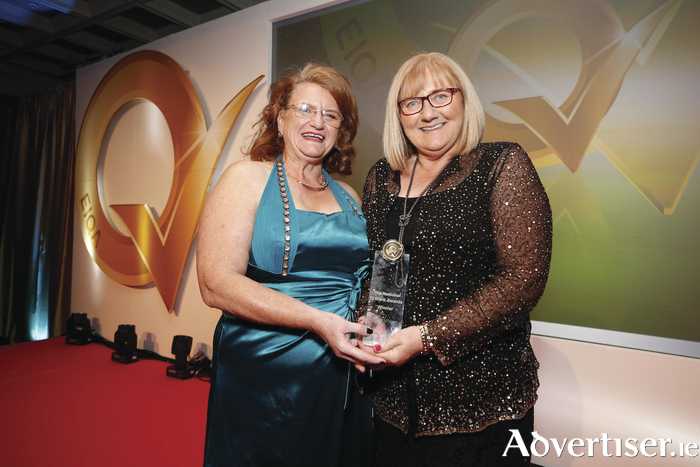 Irene Collins, managing director of EIQA, pictured with Evelyn Lane representing Mayo North East Local Employment Service, winner of the Best Quality Management System  (QMS) in the pursuit of excellence at the National Q Mark Awards. Photo: Conor McCabe Photography.