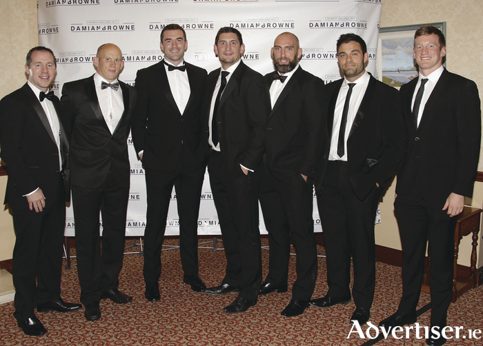 Former team mates of Damien Browne (l-r) Ted Robinson, Johnny O'Connor, Andrew Browne, James Downey, John Muldoon, Ronan Loughney and Eoin Griffin at the Damien Browne Atlantic Challenge 2017 dinner in the Ardilaun Hotel on Saturday night. Photo:- Mike Shaughnessy