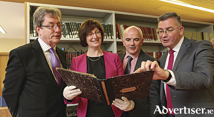 Pictured at NUI Galway announcing the deposit by Conradh na Gaeilge of its archive at the University today (l-r) Dr Jim Browne, President of NUI Galway; Monica Crump, Special Collections, University Library; Dr Niall Comer, President of Conradh na Gaeilge; and Dr John Walsh, Senior Lecturer in Irish at NUI Galway