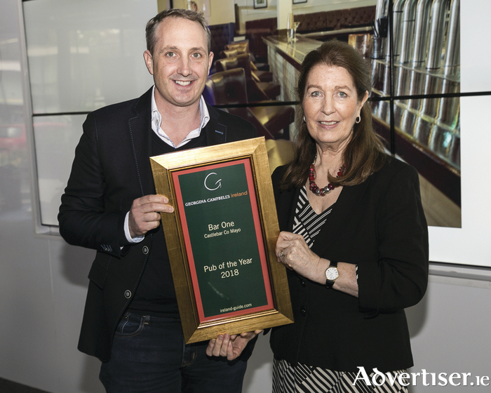 Mark Cadden from Bar One in Castlebar receives the Pub of the Year  award at the Georgina Campbell Awards this week.