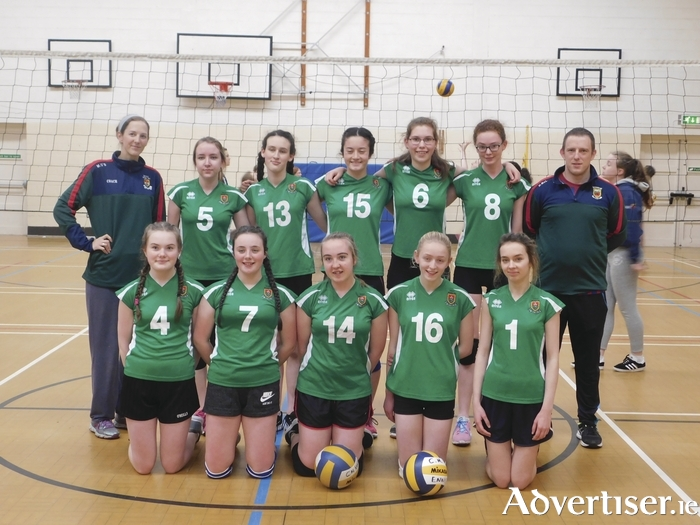 The Mayo U18 volleyball team who beat Clare last weekend: Back row: Mikal O'Boyle (coach), Aideen Mahon, Roisin McLoughlin, Hana Ueno, Alex Fleming, Elizabeth Gallagher, Michael McLoughlin (assistant coach). Front row: Ruth Horan, Lauren Petra Fahy, Ciara O'Neill, Maria Crowe, Aisling Gavin.