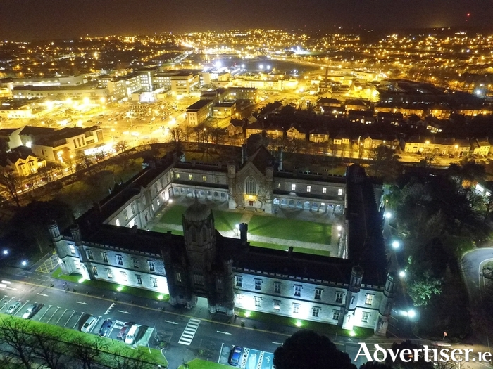 NUI Galway Quadrangle at night.