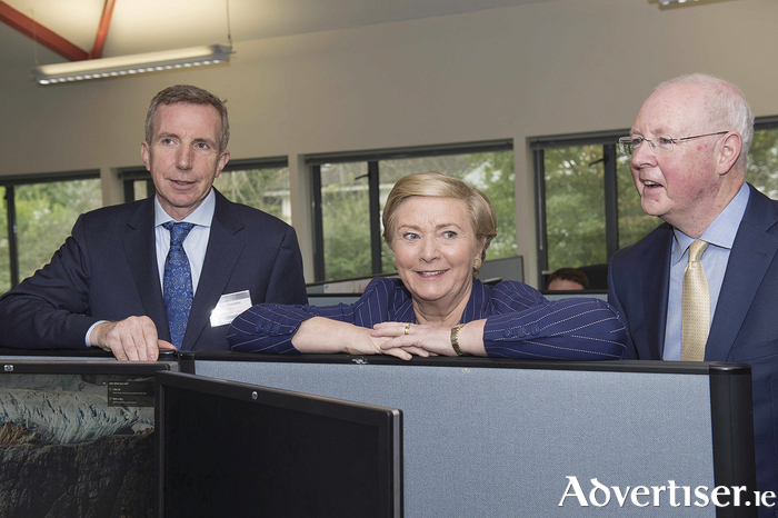 Karl Flannery, CEO, Storm Technology with An Tanaiste and Minister for Business, Enterprise and Innovation, Frances Fitzgerald TD  and Barry Egan, Regional Director West Region, Enterprise Ireland .Photo:Andrew Downes, xposure
