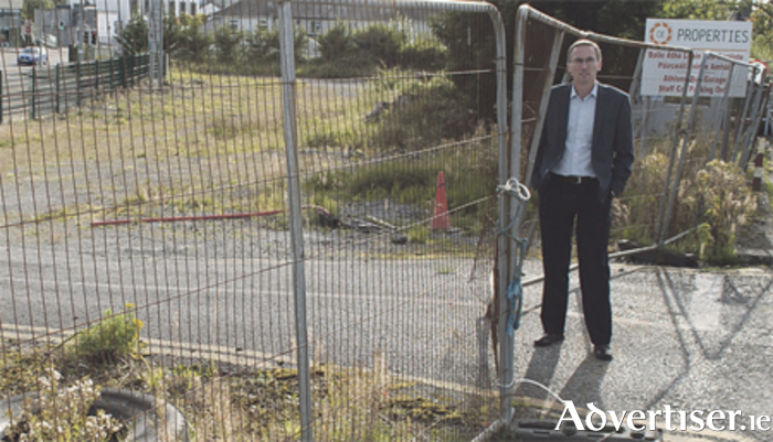 Mayor Aengus O'Rourke at the site of the proposed Railway Field Road development