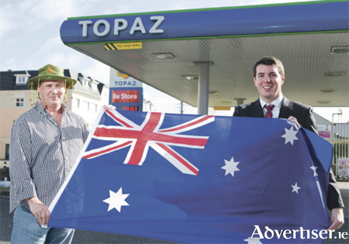 John O'Mahony from Athlone, winner of August's Topaz Play or Park giveaway, with Topaz loyalty and insights manager, Richard Pollock. Photo: Karl Hussey/Fennell Photography