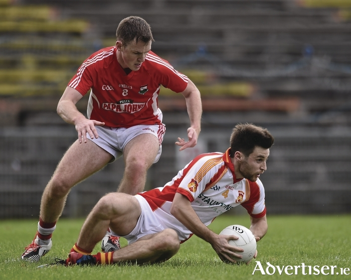 See you Sunday: Mayo teammates Donnie Newcombe, and Shane Nally will be facing each other on Sunday when Castlebar Mitchels and Garrymore clash. Photo: Sportsfile.