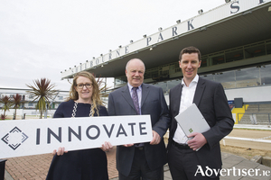 Annette Soraine CCO Innovate, Joe Lewins Director of Tote and Wagering Irish Greyhound Board (IGB) and Jim Hughes CEO Innovate at the announcement of a five-year deal between IGB and Innovate Business Technology for the delivery of Cloud Managed Services to the greyhound industry. Picture: Suzanne Collins. No reproduction fee.Annette Soraine CCO Innovate, Jim Hughes CEO Innovate, and Joe Lewins Director of Tote and Wagering Irish Greyhound Board (IGB) at the announcement of a five-year deal between IGB and Innovate Business Technology for the delivery of Cloud Managed Services to the greyhound industry. Picture: Suzanne Collins