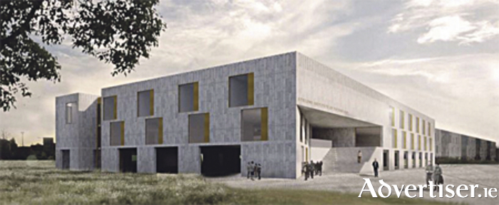 A mockup of AIT's new STEM building