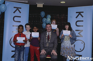 Foundation level maths students who received their awards from Deputy Mayor Cllr Michael Cubbard at the recent Kumon awards ceremony. From left: Shiloh Mihes, George Curley, Jigyansh Kakkar, Deputy Mayor Cllr Michael Cubbard, Maire Connolly, and Roisin Lavelle.
