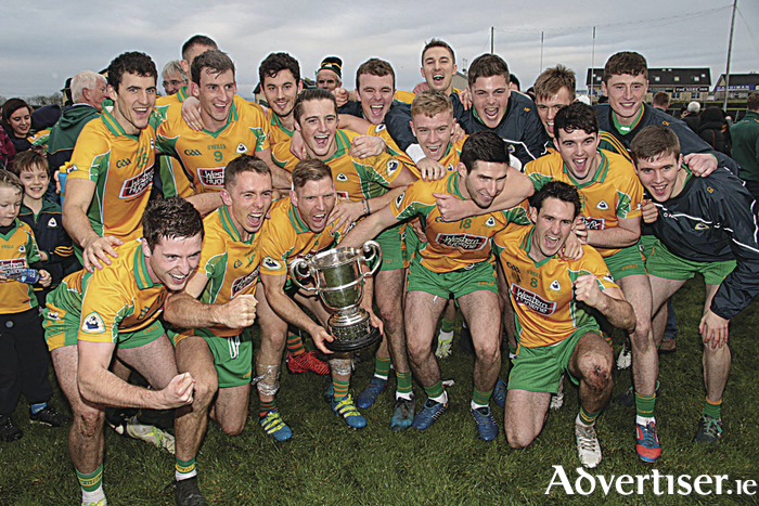 Corofin Celebrate another title after they defeated Mountbellew Moylough in the Galwy Senior Football Championship final at Tuam Stadium on Sunday. 							Photo:- Mike Shaughnessy