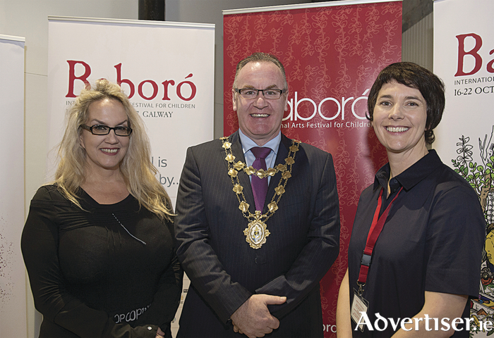 At the launch of Baboro Children's International Arts Festival was Brenda Romero, University of Limerick and Romero Games; Mayor of Galway City, Cllr Pearce Flannery and Baboro's Executive Artistic Director, Aislinn OhEocha  at the O'Donoghue Theatre NUI, Galway. Baboro runs until Sunday. Photo:Andrew Downes, XPOSURE