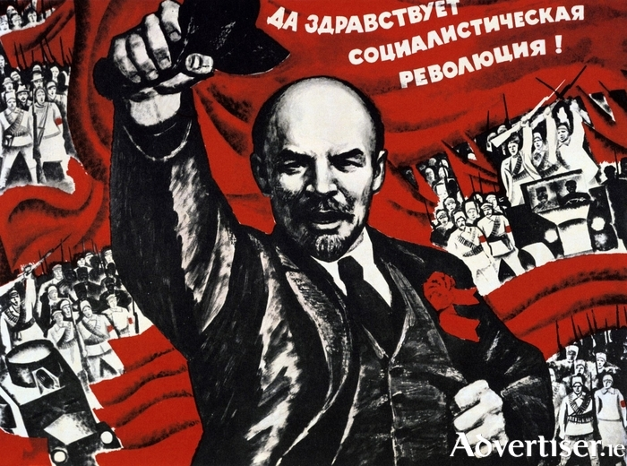 An undated Communist poster depicting Lenin and the Russian Revolution of October 1917 - one of three revolutions which took place that year.