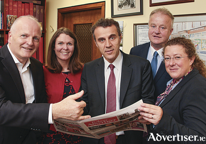 The new French ambassador to Ireland HE Stéphane Crouzat paid a visit to Galway on Friday where he met with the management of the Galway Advertiser Newspaper. Pictured during the visit were (l-r) Declan Varley (group editor), Marie McCarthy ( sales manager), HE Stéphane Crouzat, Peter Timmins ( managing director) and Catherine Gagneux, Hon French Consul to Galway. 		Photo:- Mike Shaughnessy