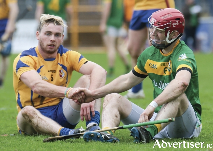 After the battle:  Owen Tracey of Portumna and Adrian Cullinane shake hands after the Galway Senior Hurling Club quarter finals at Kenny Park, Athenry on Sunday.  Photo:- Mike Shaughnessy