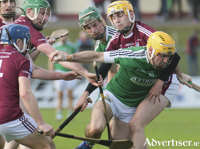 Conor Kavanagh of Liam Mellows is blocked by Clarinbridge's Ryan Ellis in action from the Galway Senior Hurling Club quarter finals at Kenny Park, Athenry on Sunday. Photo:- Mike Shaughnessy