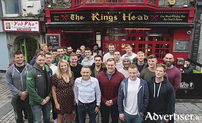 A victory-inspiring meal — Some of the Connacht Rugby squad at the Kings Head Bar, High Street on Thursday. Mary and Paul Grealish owners of the award-winning bar and restaurant hosted the players before their Guinness PRO 14 win over Munster on Friday night. Photo:- Mike Shaughnessy