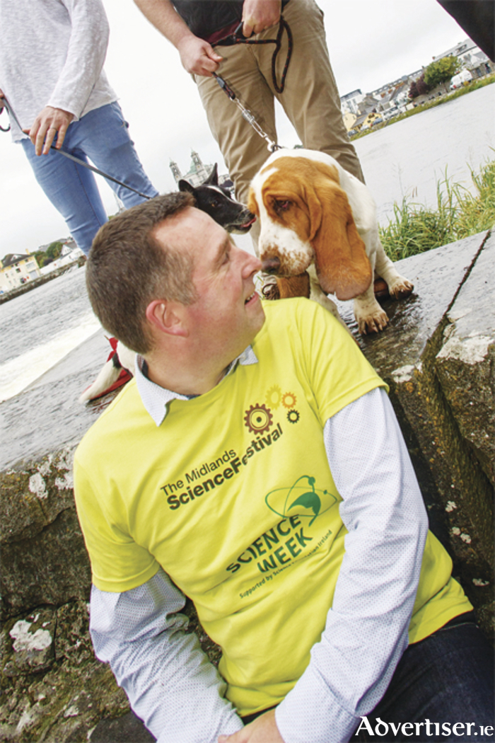 Dr Craig Slattery of Midlands Science along with one of the Science of Dogs mascots, Albert, in Athlone recently