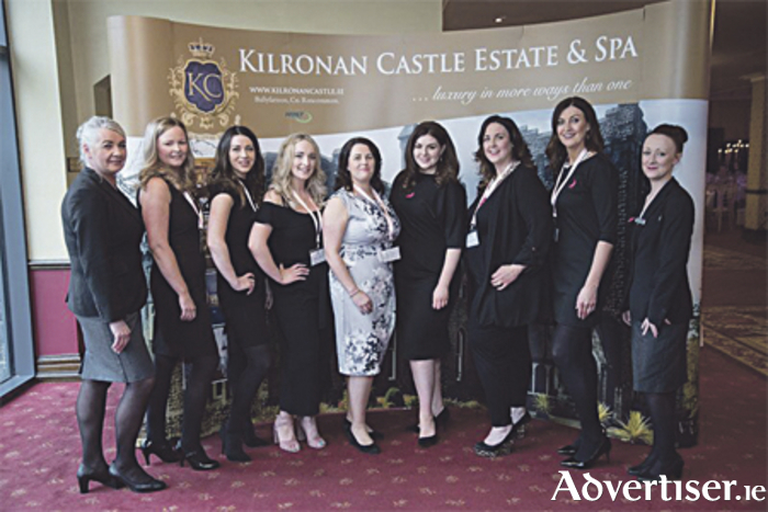 Sile Seoige (fourth from right) with the team from Kilronan Castle Estate & Spa (l-r): Anne O'Rourke, Lindsey Mattimoe, Katie Gill, Ciara Maxwell, Monica Feeney, Samantha Keeling, Caroline Newton and Nicola Bannon