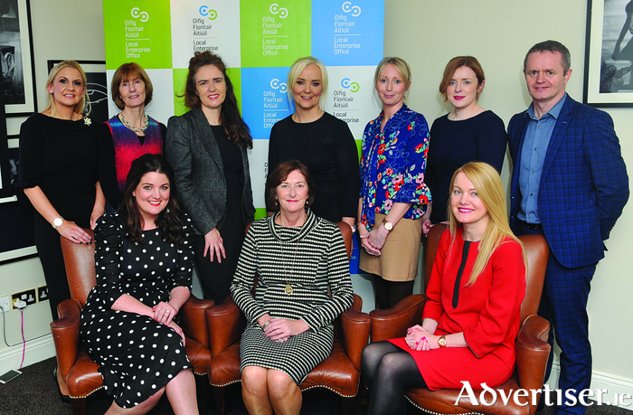 The NWED regional committee. Back row: Orla Cunningham (All in Print and Design), Anne Browne (LEO Roscommon), Caitlin O'Connor (Accelerating Performance), Ursula Kelly (Cormac Tagging), Diane Gallagher (LEO Galway), Elaine Moyles (LEO Mayo), John Magee (head of enterprise LEO Mayo). Front Row: Loretta Ní Ghabháin (Lorg Media), Louise Ward (head of enterprise LEO Roscommon), and Pamela Conway (LEO Mayo).