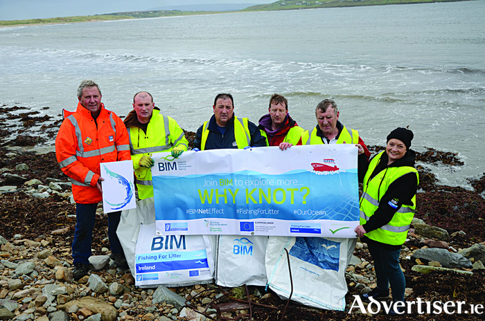 Pictured are Tony Curley, Melvin Tighe, Pat O'Donnell, Pierce O'Donnell and Martin Tighe of the Erris Inshore Fishermen's Association with Catherine Barrett of Bord Iascaigh Mhara (BIM).