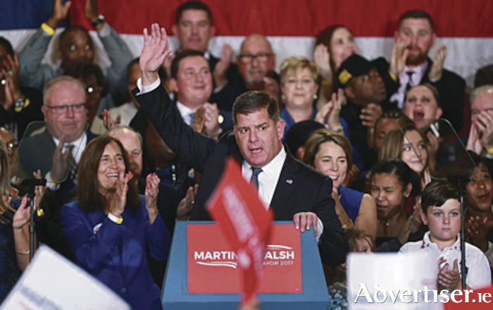 Confetti fell from the ceiling of the Copley Plaza Hotel's grand ballroom after Mayor Martin J Walsh secured his second term in office in the early hours of yesterday. Mayor Walsh has stated that he will be visiting Galway again next year.