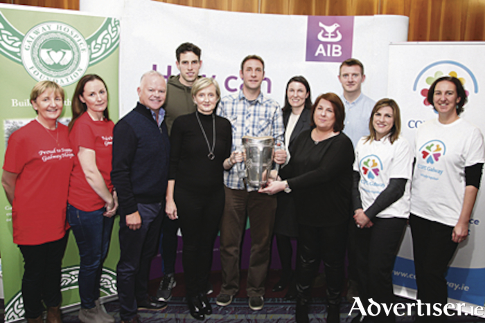 Pictured are Mary Lyons, Grainne Melett, Michael Craig (Galway Hospice) Gearoid Mc Inerney (Galway All Ireland and All star Hurler), Adrienne Turley, Brian Muldoon, Leonora Garavan, Rhona Burke, Joe Canning (All Ireland Hurler and All star Hurler of the year), Emma O'Connor and Marie-Anne Michel from Cope Galway