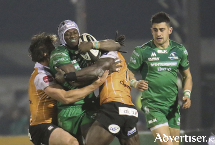 Double tacked: Connacht's 'star of the show' Niyi Adeolokum in action from the Guinness PRO 14 game against the Toyota Cheetahs at the  Sportsground on Saturday night. Photo:- Mike Shaughnessy