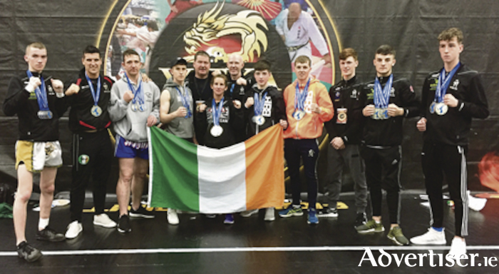 Kickboxing success: Corey O Malley (Galway), Martin Ward (Athlone), Peter Sheppard ( Galway), Sean Ryan (Mayo), Joe McCormack (Galway, assistant coach), Whitney Sheppard (Galway), Pete Foley (Black Dragon chief coach and Irish team manager), Shane Lawless (Athlone), Damien Creavin (Galway), Cian McCormack (Kinvara), James Kelly (Galway), and Alex Fitzpatrick (Tuam).