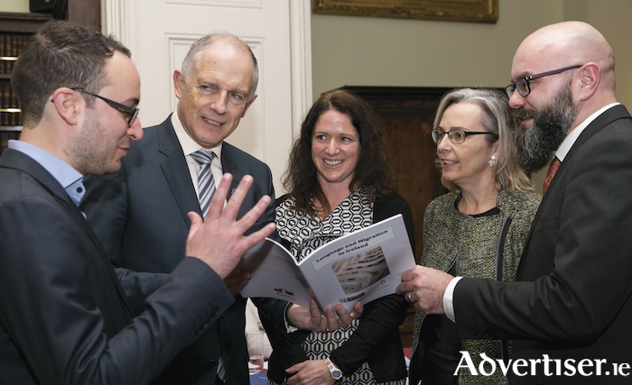 Pictured at the launch of the Report on Language and Migrationin Ireland are (LtoR) Dr Andrea Ciribuco, Minister David Stanton, Dr Anne O'Connor, Prof Imelda Maher (Royal Irish Academy), and Brian Killoran (Immigrant Council of Ireland). Photo:- Johnny Bambury