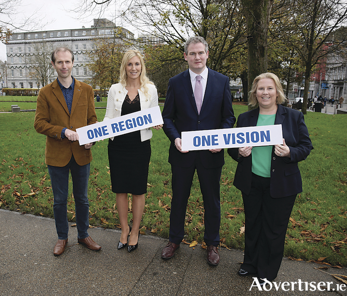 At the launch of the One Region One Vision 2017 Conference in Galway, John Breslin, Insight Centre, NUI Galway, Michelle Murphy, Director, Collins McNicholas Recruitment and HR Services Group, Minister of State at the Department of Rural and Community Development and the Department of Communications, Climate Action and Environment