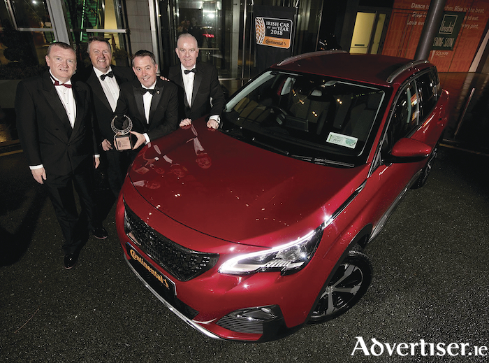 Irish Car of the Year Awards 2018 in association with Continental Tyres: David Walshe and Michael Sheridan of the Irish Car of the Year committee, Des Cannon, managing director of Peugeot Ireland,  with Tom Dennigan of Continental Tyres.