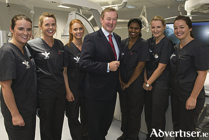 Former Taoiseach Dr Enda Kenny officially opened the New €6m Cardiac Catherisation Lab at Bon Secours Hospital Galway pictured with the cardiac specialists.