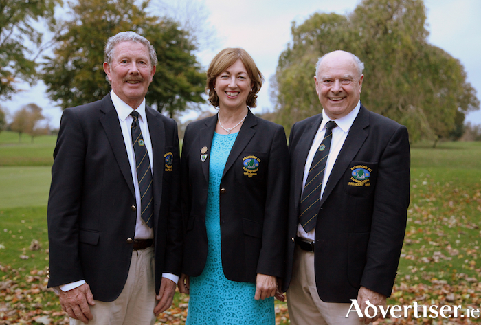 At Ballinrobe Golf Club pictured are Club Captain Joe Cradock, Lady Captain Mary Colleran and Club President John Staunton , at the final presentation evening of the year at the Club: Photo: Trish Forde.