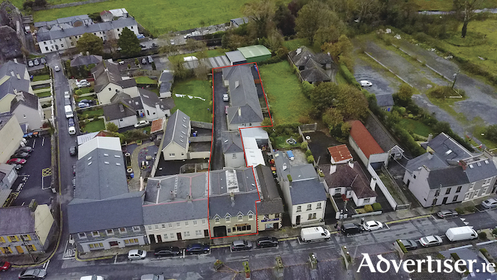 An aerial view of the property at Cross Street, Athenry.