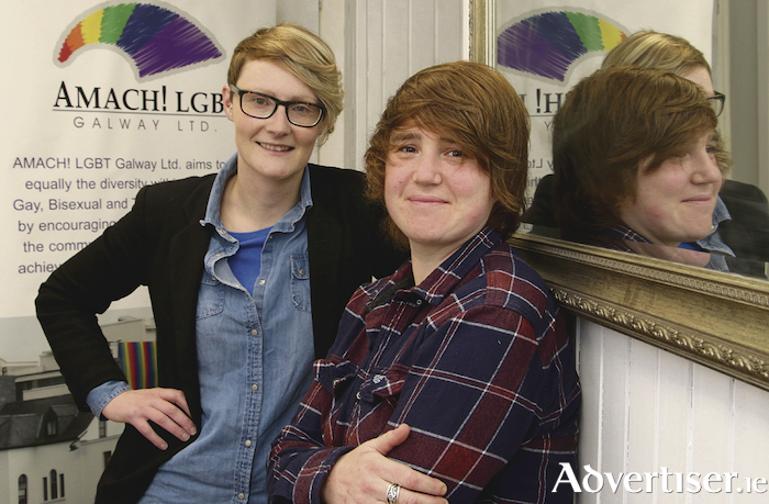 Maria Molloy (chairperson) and Vivienne Ivers (liaison officer) of AMACH ! LBGT Galway Photo:-Mike Shaughnessy