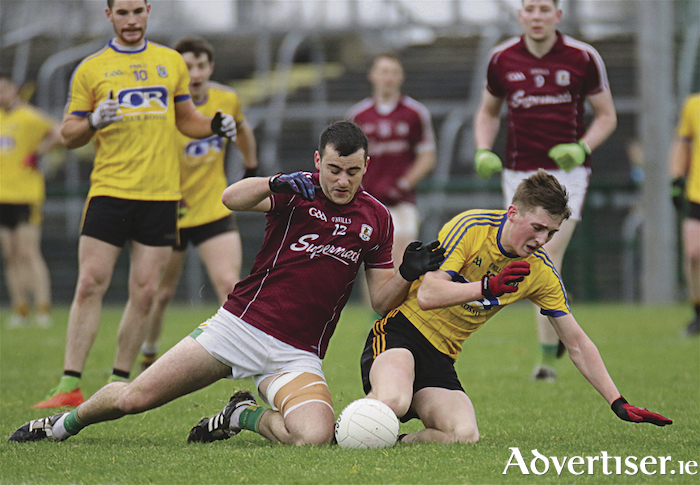 Claregalway's Padraig Kearney and Michael Glavey's Dylan Ruane in the Connacht Intermediate Club Football final which Glaveys won by 3-14 to 1-12 at Hyde Park, Roscommon, on Sunday.