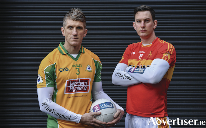 See you Sunday: Castlebar Mitchels' Barry Moran and Corofin's Kieran Fitzgerald will face off again this Sunday in the Connacht GAA Clubs SFC Final in Tuam. Photo: Sportsfile