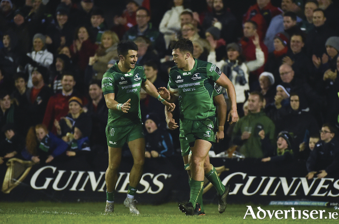 Tiernan O'Halloran and Tom Farrell will be two key players in this next series of fixtures for Connacht. Photo: Sportsfile