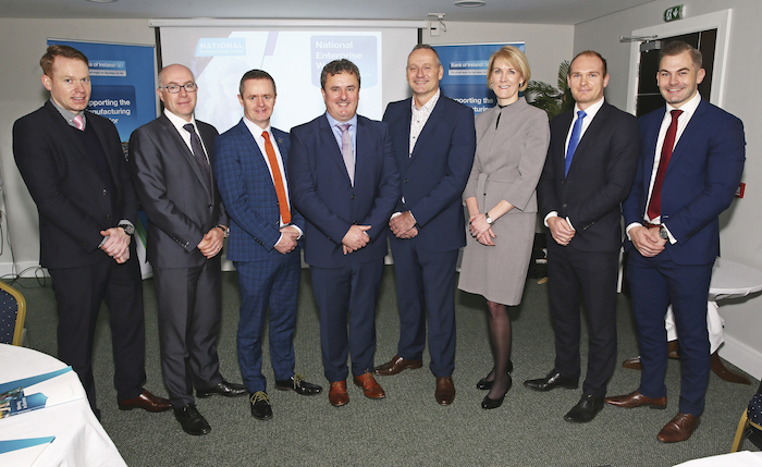 Pictured at a Bank of Ireland National Enterprise Week event entitled 'Manufacturing in a dynamic, challenging and changing marketplace' were from left: Alan Durcan (Head Bank of Ireland Mayo), Eugene Loughran (Senior Relationship manager Bank of Ireland), John Magee (Head of Enterprise  LEO, Mayo), Brian Evans (Head of Manufacturing Bank of Ireland), Gerard Tannam (CEO Islandbridge Brand Development), Gail Molloy (Head of Business Banking Connacht and Ulster), Lee Evans (Bank of Ireland Global Markets and Brian Moran (Bank of Ireland Business Manager Mayo) Photo: Michael Donnelly