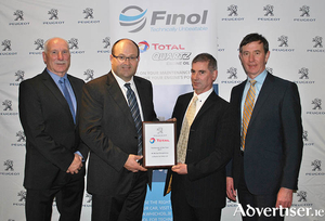 Pictured from left to right are: Sean Kearns (Head of Aftersales at Gowan Distributors Limited, Peugeot Importers in Ireland); Sean Holland (Managing Director at Finol Oils), Mike Shaughnessy (JJ Burke Car Sales) and Martin Dunne (Head of Technical at Gowan Distributors Limited).