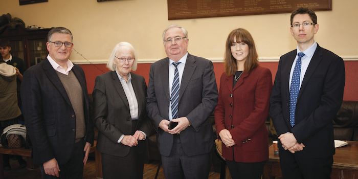 The Judges at the Mayo Association Schools debate Iarla Mongey, Judge Mary Laffoy, Former TD Pat Rabbitte, Dr. Carmel Heaney and Barrister Padraic Lyons. Photo: Brian Ryan