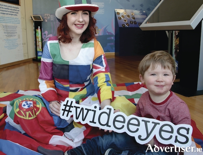 Circus performer Aoife Ryan, and Cian Duggan, at the announcing of Baboró International Arts Festival for Children's Wide Eyes festival for children aged 0 – 6 years. Photo:-Mike Shaughnessy