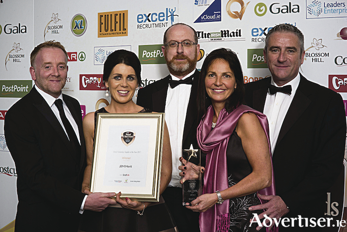 Mark Morgan pictured with Susanne Cleary, Pat Kelly, Margaret Jordan and Michael Jordan from JBM|MERIT at the National Convenience Store Awards where they scooped the award for Best Retail Technology Supplier in Ireland.