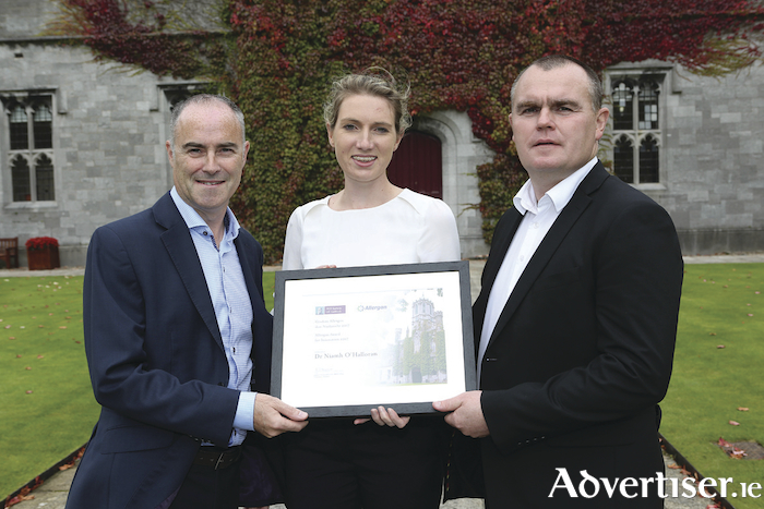 Pictured at the Allergan Innovation Awards Ceremony were l-r: Paul McGuire, executive director of Zeltiq, the Galway Allergan facility, award recipient, Dr Niamh O'Halloran, NUI Galway and Alan Flannery, finance director, Allergan, Westport. Photo: Aengus McMahon