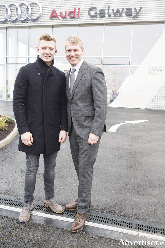 Joe Canning, Audi Galway Brand Ambassador and Henning Dohrn,  managing director of Audi Ireland at the opening of the New Audi Galway Terminal  at Ballybrit.  Photo: Andrew Downes, xposure