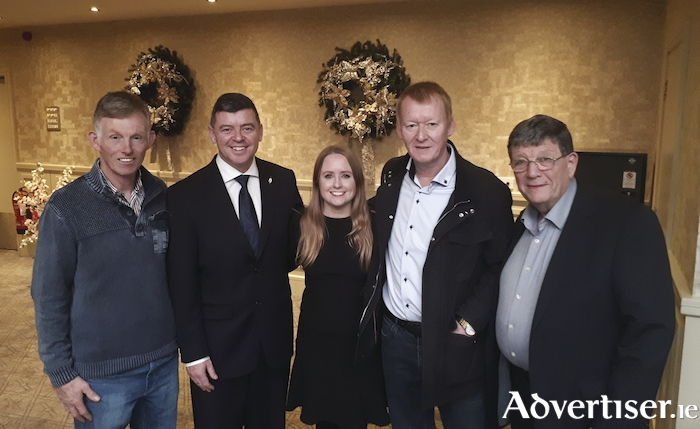 L-R: Sinn Féin Cllrs Dermot Connolly, Mark Lohan, Mairéad Farrell and Cathal Ó Conchúir with former MP Pat Doherty at the party's candidate selection convention for Galway West where Cllr Mairéad Farrell was chosen to go forward at the next General Election.