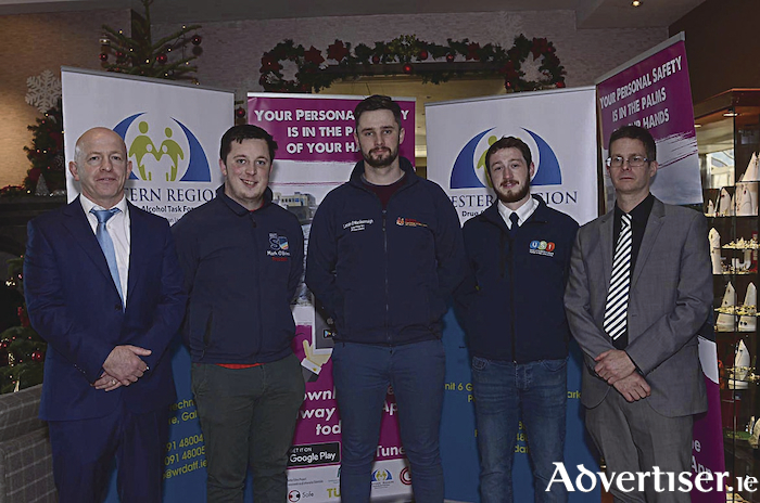 Micheal Durcan WRDATF Co-ordinator, Mark O Brien GMIT Student Union President, Lorcán Ó Maoileannaigh, NUIG Student Union President, Jimmy McGovern Union Students of Ireland,  Neil Wilson WRDATF Education Support Worker at the launch of the Galway Safe App. (Photos taken by Murtography)