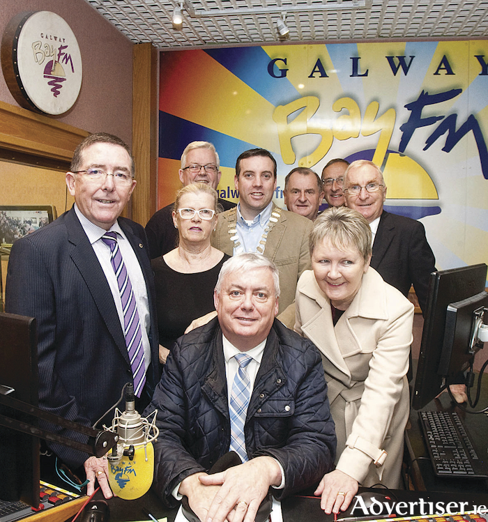 At the launch of the Galway Lions Club Radio Auction at GBFM were left to right. Brian O' Keeffe (Auction Committee Chairman) Dolores Bane (Dunnes Stores); Canon Michael Mc Loughlin; Ger Hosty (GLC vice president); Finbar O'Sullivan (Dunnes Stores);  Tom Murphy, Tony Burke, Geraldine Mannion, and Keith Finnegan.