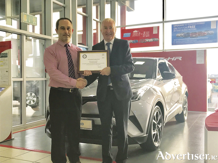 Charlie Donnellan (left), Toyota sales manager at Tony Burke Motors, Ballybrit, won the 2017 Customer Excellence Award from Toyota Ireland in recognition of delivering exceptional customer service in 2017. He is pictured with Tony Burke, managing director of Tony Burke Motors.