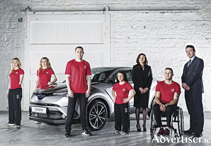 Paralympic athletes Ellen Keane, Noelle Lenihan, Jason Smyth, Nicole Turner and Patrick Monahan pictured with Miriam Malone, CEO of Paralympics Ireland, and Steve Tormey, chief executive of Toyota Ireland.